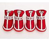 SHENGHUI Los Zapatos de Perro de Verano no se caigan, Cubre de pie Zapatos de Peluche Conjunto de 4 Cachorros Botas de Lluvia Sandalias pequeñas Perro Mascotas (Color : Red, Size : Number 1)