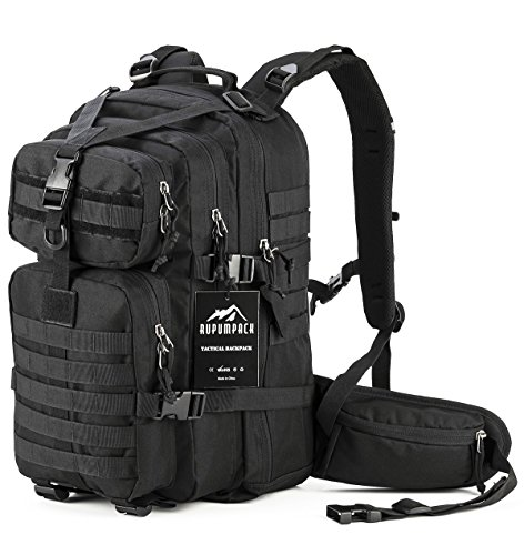 RUPUMPACK Military Tactical Assault Backpack, Hydration Backpack by, Army MOLLE Bug Out Bag, Small Rucksack for Outdoor Hiking Camping Trekking Hunting School Daypack 35L Black …