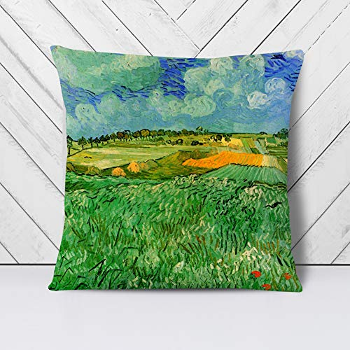 Big Box Art Cushion and Cover - Vincent Van Gogh Plain Near Auvers - Single Square Throw Pillow - Soft Faux Suede Material - White Rear - 40x40 cm