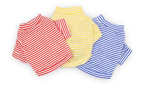 DroolingDog Dog Clothes Pet Striped T-Shirt Plain Puppy Apparel for Small Dogs, Large, Pack of 3
