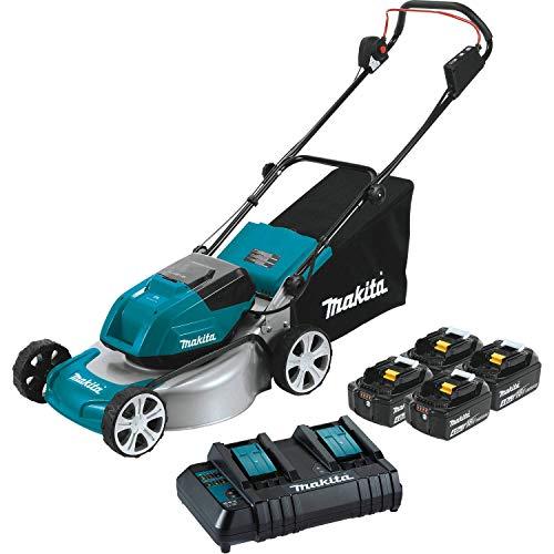 """Makita XML03CM1 36V (18V X2) LXT Brushless 18"""" Lawn Mower Kit with 4 Batteries"""
