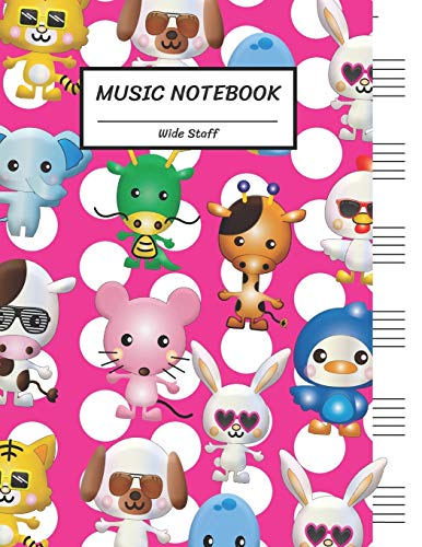 Music Notebook Wide Staff: Animals.Bunny Rabbit Tiger Dog Snake Elephant Dragon Giraffe Chicken Cow Rat Mouse Duck White Pink Dot/Blank Music Sheet ... per page,8.5'x11',100 Pages,For Kids Teen