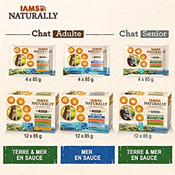 IAMS Naturally Nourriture Humide pour Chat Stérilisé ou non 4 sachets fraicheurs pour 4 Pâtées Terre/Mer en sauce - SANS SUCRE AJOUTE, OGM, protéines végétales, colorant, arôme artificiel - 4 x 85g