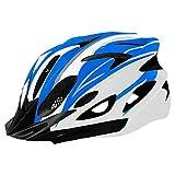 Casco de Bicicleta para Adulto Casco Ciclismo BMX Protector Ligero con Correa Ajustable y Visera Desmontable para Montar Protección de Seguridad Unisex para Carretera Montaña (Azul & Blanco, 52-61cm)