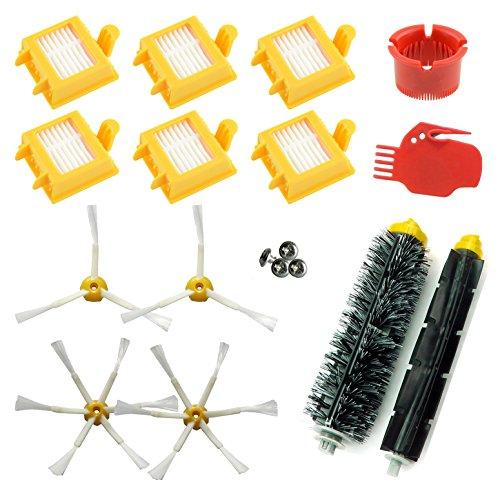 ASP-ROBOT Recambios compatibles con Roomba serie 700 760 765 770 772 775 776 776p 780 782 785 786. 6x Filtro hepa, 4 x cepillo lateral, 1 x rodillo central 2 x herramientas. Pack repuestos. KIT