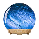 COOSA Glass Essential Oil Diffuser, 250ml Aromatherapy Fragrance Diffuser & Ultrasonic Cool Mist Humidifier with 4 Timer and Waterless Auto Shut-Off Settings, BPA-Free