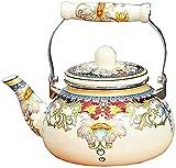 Chilequano Pote de esmalte grueso, esmalte de hervidor de esmalte de esmalte grueso de ollas de inducción de hervidor de gas Universal 2.4L