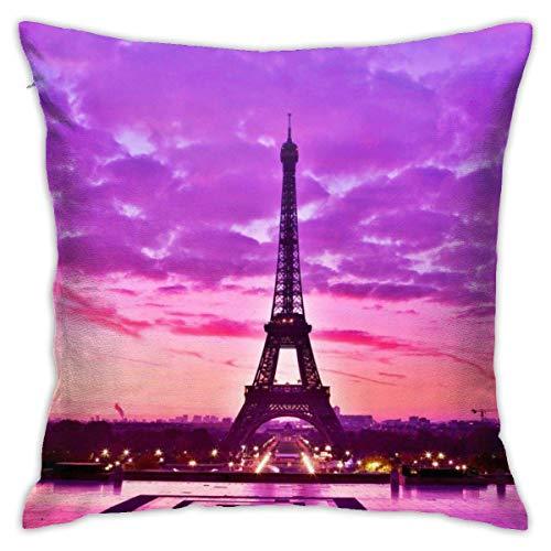 Traveler Shop Funda de Almohada Francia Paris Eiffel Protectores de Almohada Fundas de Almohada estándar, 18x18in