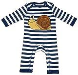 HARIZ Baby Strampler Streifen Schnecke Süß Tiere Dschungel Plus Geschenkkarten Navy Blau/Washed Weiß 3-6 Monate