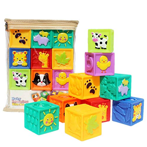Kingtree Baby Blocks (Set of 9), Squeeze Building Blocks Soft Stacking Baby Toys for 6 Months and up, Colorful Teething Chewing Educational Stacking Blocks Set with Numbers Animals Shapes Textures