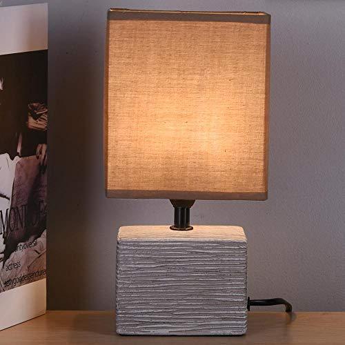 Bakaji Lampada da tavolo Base Rettangolo in Ceramica Grigia Paralume in Tessuto Tortora Lume Comodino Camera da Letto Luce Lampadina E14 Max 40W Abatjour Design Moderno 26,5 x 7 x 10,5 cm