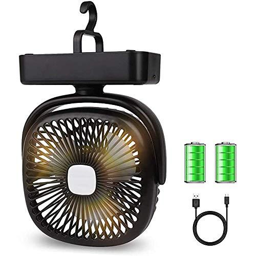 Air cooler Fan LED linterna, ventilador de mini escritorio portátil USB recargable 4400mAh ventilador de batería con gancho, 3 velocidades Ventilador de carpa silencioso personal para acampar, hogar y