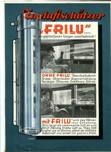 Werbeblatt - FRILU - Zugluftschützer - H.Liebig - Halberstadt - Spezial-Fabrikation von Auto-Windschutz - 1929