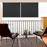 Hengda Toldo Vertical Protección Solar Sombreado Persiana Enrollable Impermeable para Balcón, Terraza, Jardín, Gris 140x140cm