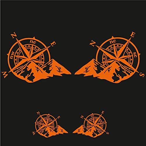 Sticker Mimo Rosa de los vientos con montañas para moto, barco, coche 4 x 4, casco, caravana y caravana. Pegatinas para coche Motobike (naranja brillante)