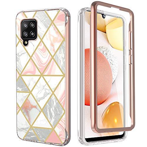 KETEEN Funda para Samsung Galaxy A42 5G, funda compatible con protector de pantalla ultrafina, mármol 360°, protección completa Galaxy A42 5G, antigolpes, color rosa