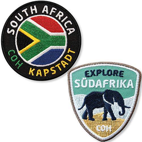 Club of Heroes 2er-Set Südafrika Aufnäher 55 x 60 mm/Reise Safari South Afrika Flagge Elefant Nashorn Wildlife/Flag Patch Aufbügler Flicken Bügelbild/Kapstadt Kap Reiseführer Buch