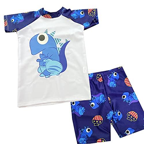 Traje de baño para niños y jóvenes, diseño de dibujos animados, ropa de natación, protección UV, compuesto por camiseta y pantalones cortos A azul. 5-7 años