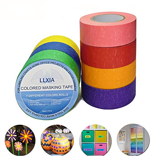 Colored Masking Tape, LLXIA Self Adhesive Labeling Tape 22 Yards Graphic Art Paper Tape 7 Rolls for Crafts DIY, Home Decoration, Office Supplies - Rainbow Color