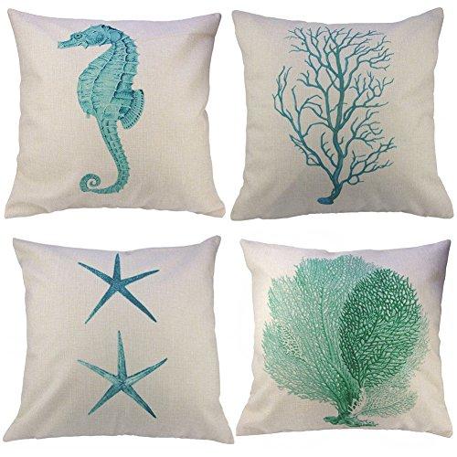 Gspirit 4 Pack Starfish Seepferdchen Coral Branch Baumwolle Leinen Dekorative Kissen Fall Kissenbezug 45x45 cm, Lustiges Geschenk (2)