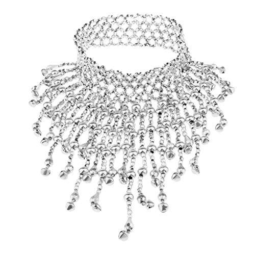 sharprepublic Bauchtanz Schmuck Kette Halsband Halskette Metallkette Tanz Fashing Damenkostüm - Silber