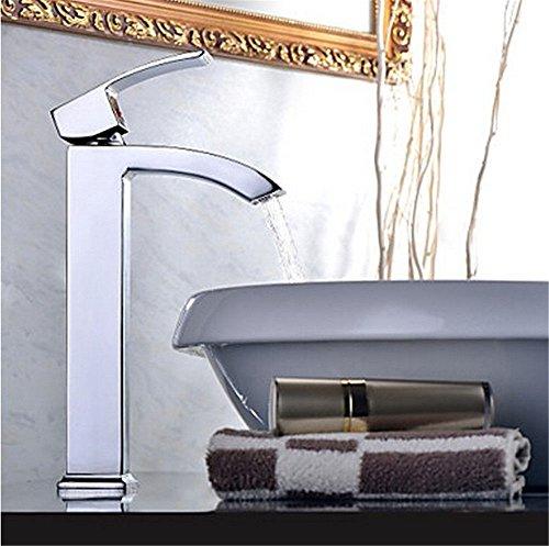 QIMEIM - Grifo mezclador para lavabo, lavabo, agua fría y caliente