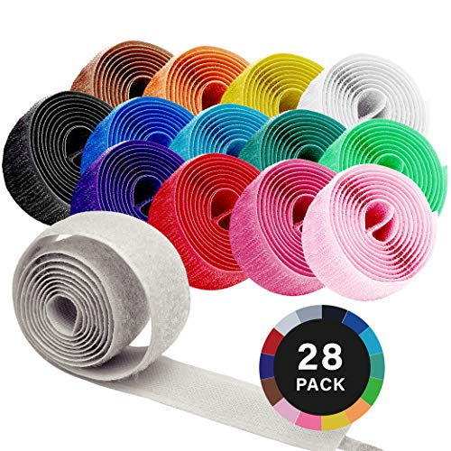 LOVEETA Sew on Hook and Loop for Fabric - Sewing Fasteners Colored White Black Strips Non Adhesive Interlocking Tape for Clothing 1 inch with Embroidery Patches for DIY Craft , Total 28 Rolls and 10 Patches