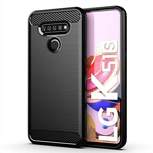 Toppix kompatibel mit LG K41S / LG K51S Hülle, Handyhülle TPU Silikon Soft Case Stoßfest [Karbon Fiber Design] Cover Schutzhülle für LG K41S / LG K51S (Schwarz)