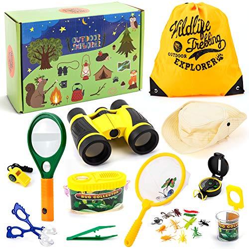 EFO SHM Entdecker Spielzeug Draussen Forscherset mit Fernglas Kompass Pfeife Lupe Rucksack Tolles Kinder Geschenkset für Camping Wandern Bildung und Rollenspiel
