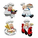 Juego de 4 imanes para nevera de Fzbali, diseño de cocinero...