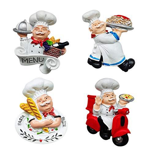 Juego de 4 imanes para nevera de Fzbali, diseño de cocinero italiano, decoración para el hogar, cocina, restaurante, divertido, de resina 3D, accesorios para decoración de refrigerador
