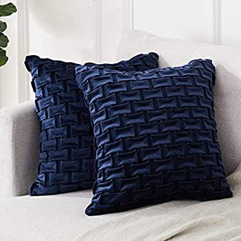 Top Finel Square Decorative Velvet Throw Pillow Covers for Couch Sofa Chair Plaid Cushion Cover 16 x 16 inches 40 x 40 cm Set of 2 Navy