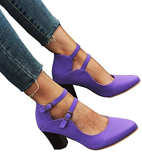 SQL Zapatos de Cuero de Las Mujeres de Alta Plaza del talón del Dedo del pie Puntiagudo 2 Hebillas Retro Marry Jeans Sandalias de Las Bombas Zapatos de los Tacones,Púrpura,41