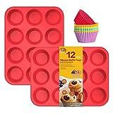 katbite Bandeja para magdalenas de silicona roja de 12 tazas, 2 unidades, antiadherente, bandeja de...