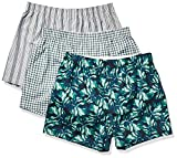 Amazon Brand - Goodthreads Men's 3-Pack Stretch Woven Boxer Shorts, Palm Frond, Medium