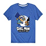 Dog Man and Cat Kid with Moon - Youth Short Sleeve Graphic T-Shirt Royal Blue