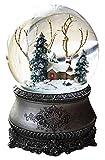 Wichtelstube-Kollektion LED Schneekugel Winterwald elektr. Schneewirbel, viele Melodien und Farbwechsel Vintage -