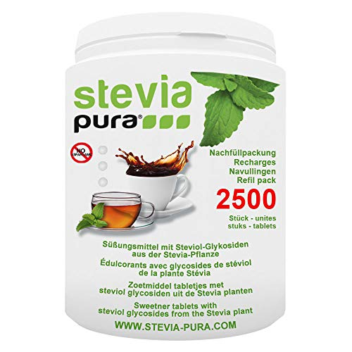 steviapura | Stevia Tabs Sparpackung - 2500 Stück Stevia Tabletten + GRATIS Dosierspender - 150g