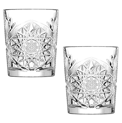Libbey Hobstar Double Old Fashioned Glasses, 12 oz Vintage Cut Glass Whisky Tumblers, 2 Glasses