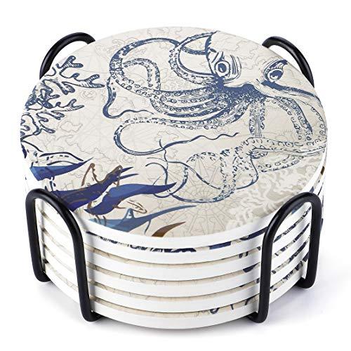 Lifver Posavasos de piedra absorbente con soporte, posavasos para bebidas y horneado de corcho, diseño de mapamundi en forma de pulpo, juego de 6