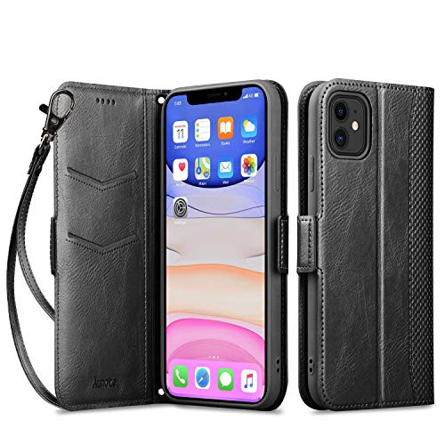 Aunote iPhone 11 Wallet Case, Protective iPhone 11 Flip case with Card Holder, Pu Leather Cases with Wristlet Hand Strap Kickstand Magnetic Closure Cover Fit Apple iPhone 11 6.1 inch Black