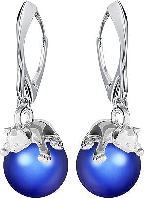 **Beforya Paris** – Gattino – Orecchini – molti colori !! – Orecchini da donna in argento 925 con perle Swarovski – Meravigliosi orecchini con confezione regalo PIN/75