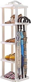 SILOLA Grand étagère à Chaussures Porte-Organisateur à étagère réglable étroite, Porte d'angle de Balcon Marron Blanc, Sup...
