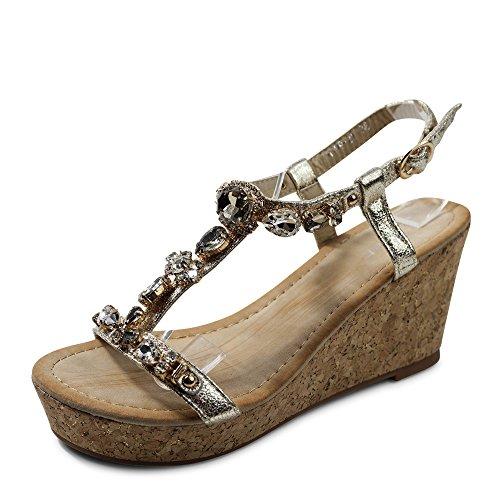 Damen Sandalen Keilabsatz Sandaletten Glitzer High Heels Wedge ST921 (37, Gold)