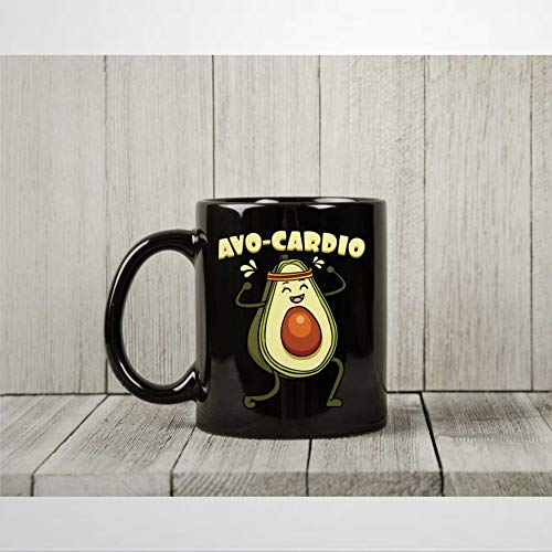 A-vo Cardio Coffee Mug Funny Workout Tea Cup for Avocado and Fitness Lovers Cardio Exercise Presents for Vegans and Vegetarians Mug 11oz