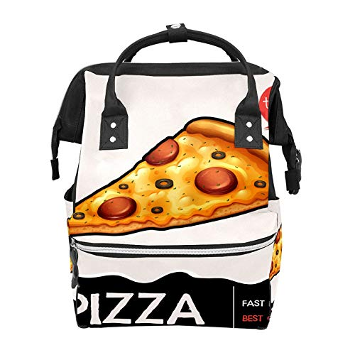 Fetta di pizza con scritta zaino scuola grande capacità borse mummia borsa portatile casual zaino da viaggio per donne uomini adulti adolescenti bambini