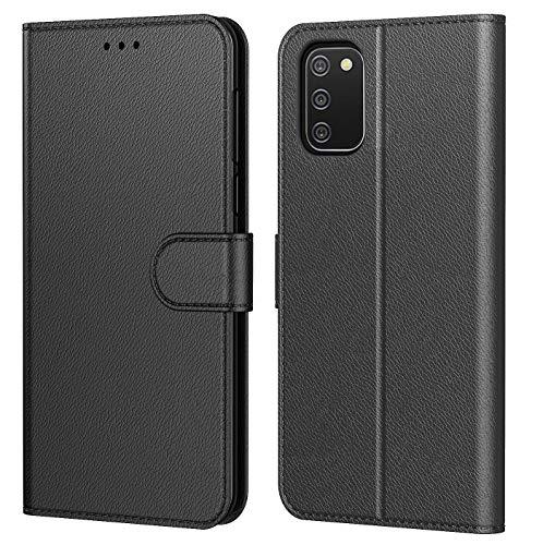 Tenphone Coque pour Samsung Galaxy A02S, Pochette Protection Etui Housse Premium en Cuir PU,Fermeture Magnétique,Flip Case Compatible avec (Samsung A02S, Book Noir)
