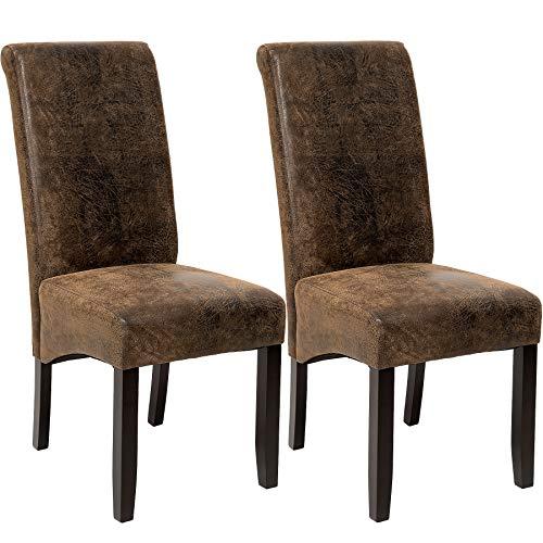 TecTake Lot de 2 chaises de salle à manger 106 cm chaise de salon mobilier meuble de salon - diverses couleurs au choix - (Vieilli/Daim | No. 401596)