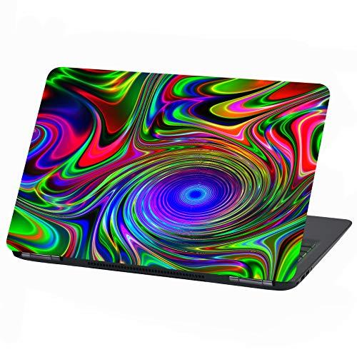 Laptop Folie Cover Abstrakt Klebefolie Notebook Aufkleber Schutzhülle selbstklebend Vinyl Skin Sticker (17 Zoll, LP16 Neon Psychodelic)