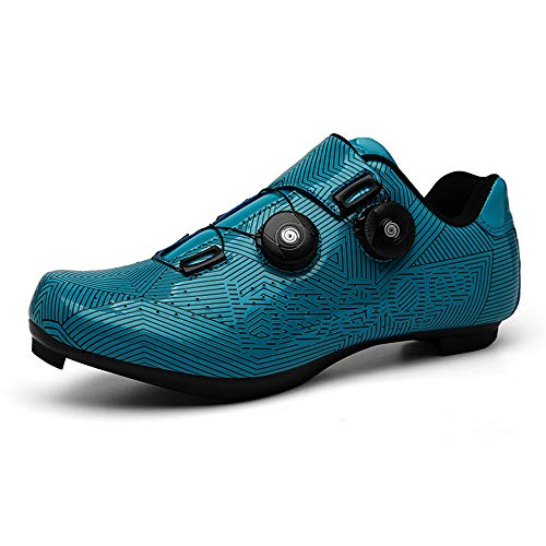 BETOOSEN Breathable Road Bike Cycling Shoes MTB Spin Bicycle Shoes Mens Womens with Quick lace Self-Locking Compatible SPD Cleats (Stripes/Blue, 10 M US Women/8.5 M US Men)